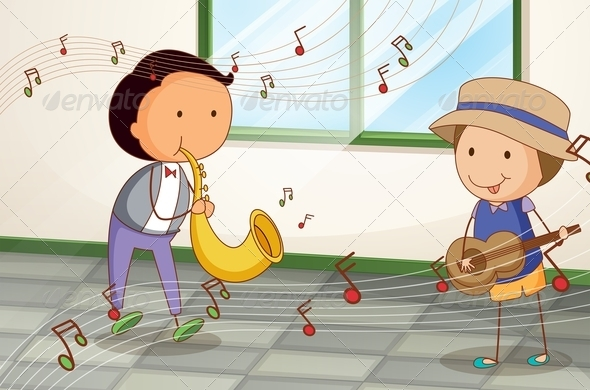 GraphicRiver Two Musicians with a Saxophone and a Guitar 8132185