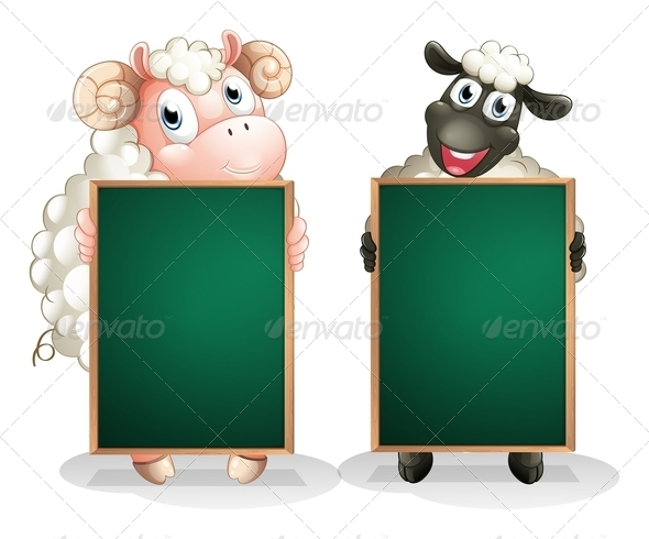 GraphicRiver Black and a White Sheep with Empty Blackboards 8132266