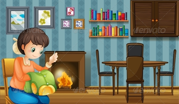 GraphicRiver A Mother Sewing near the Fireplace 8132297
