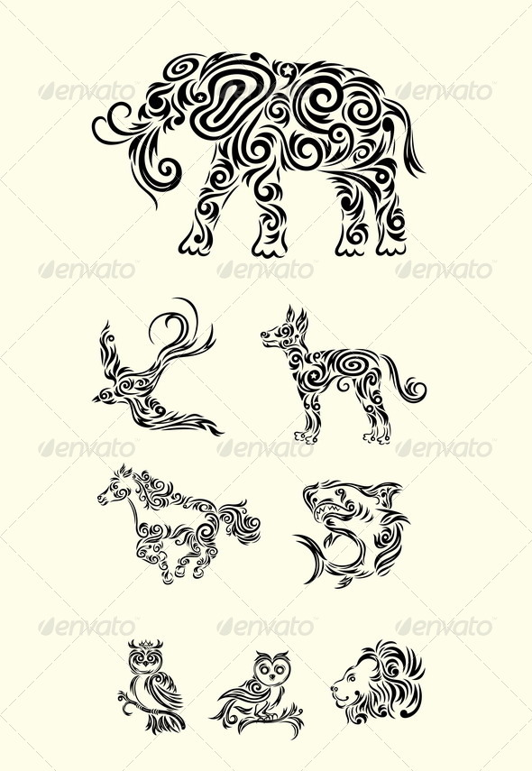 GraphicRiver Ornamental Animal Set 8132304