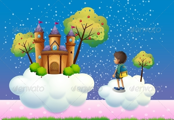 GraphicRiver Boy before Castle in Clouds 8132334