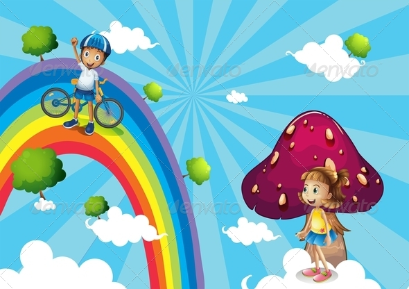 GraphicRiver Boy Biking in the Rainbows 8132338