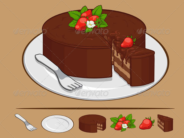 GraphicRiver Chocolate Cake with Strawberry on Plate 8070864