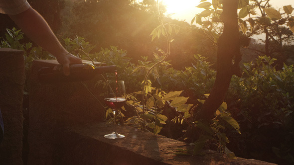 Glass of Wine being Filled in Sunset Light