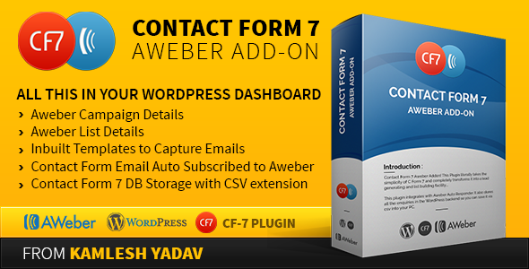 Introduction Contact Form 7 Aweber Addon! This Plugin literally takes the simplicity of C Form 7 and completely transforms it into a lead generating and list bu