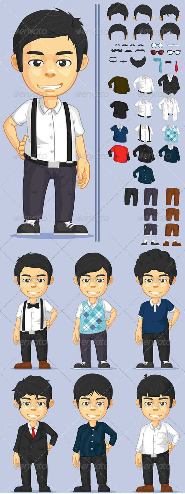 GraphicRiver Young Man Character Set 8132412