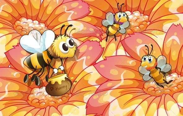 GraphicRiver Bees Collecting Honey 8132413