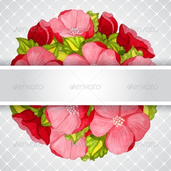 Floral Invitation Card with Flowers Peony Template
