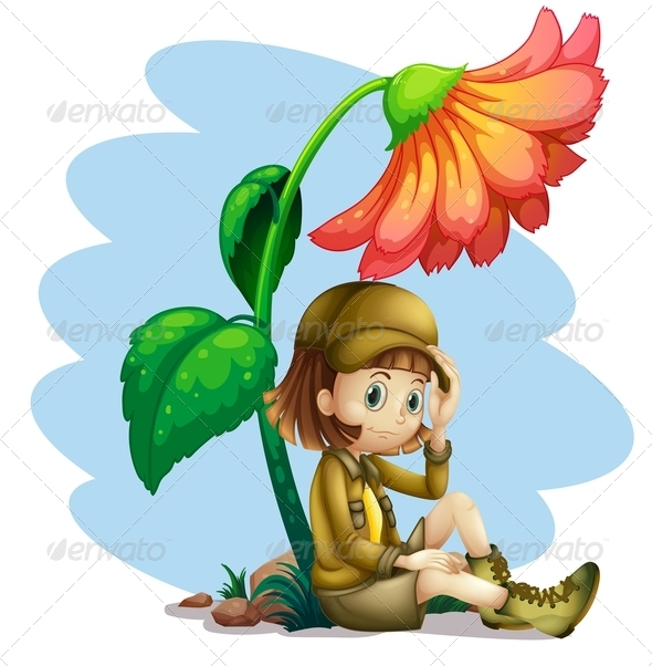 GraphicRiver Adventurer Sitting by Flower 8132535