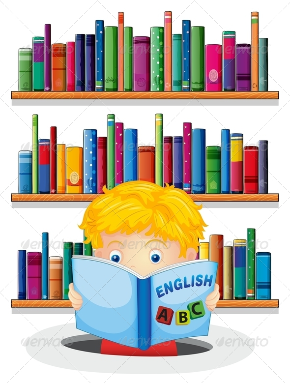 GraphicRiver A Boy in the Library Reading an Book 8132561