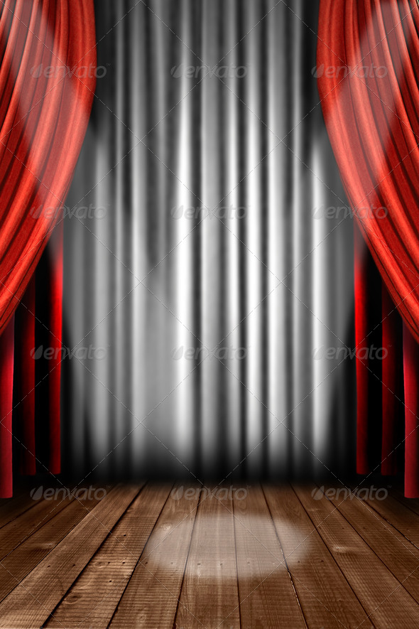 PhotoDune Vertical Stage Drapes With Spot Light 833797