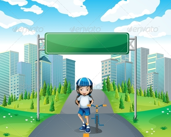 GraphicRiver A Girl Standing Below the Empty Signboard 8132574