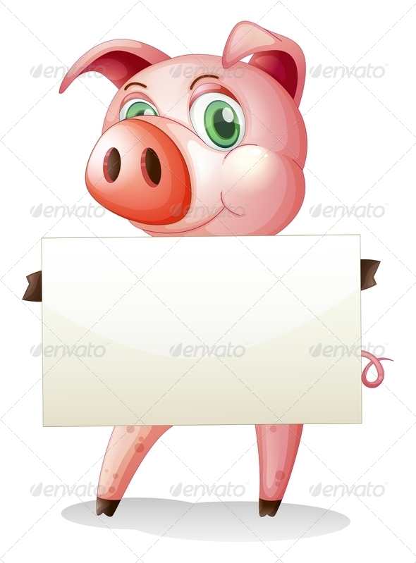 GraphicRiver A Fat Pig Holding an Empty Signboard 8132599