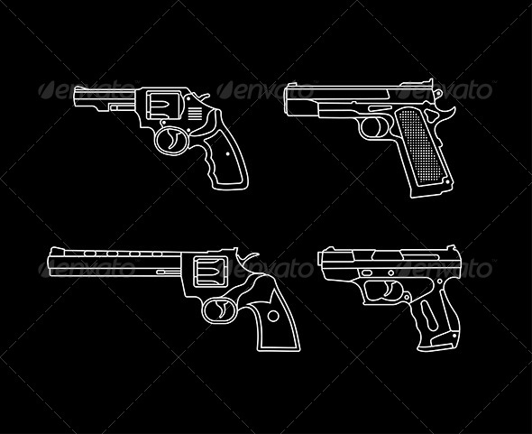 GraphicRiver Handguns Vector Silhouettes 8132614