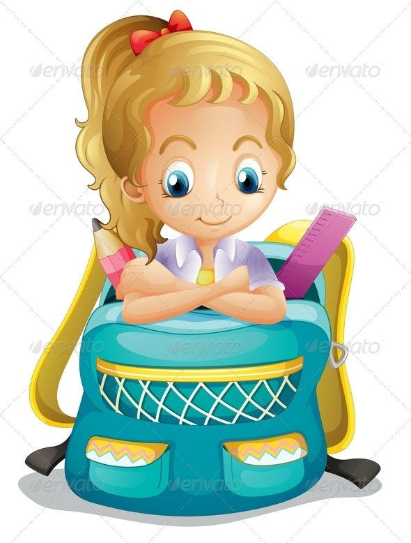 GraphicRiver A School Girl Inside a Schoolbag 8132622