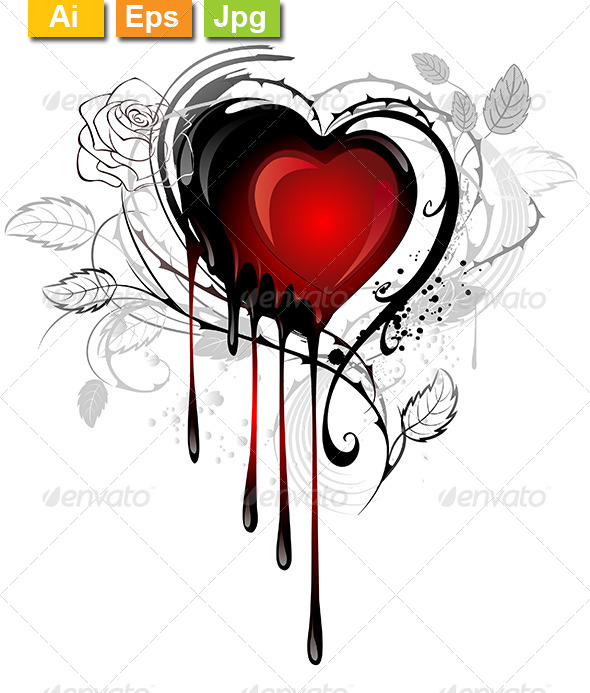 GraphicRiver Heart Drawn with Paint 8132647
