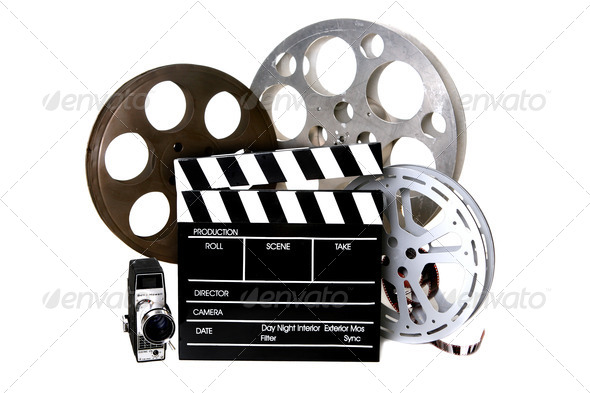 PhotoDune Film Reels and Directors Clapper With Vintage Camera 833856