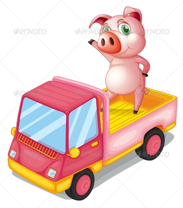 GraphicRiver Pig in a Truck 8132656