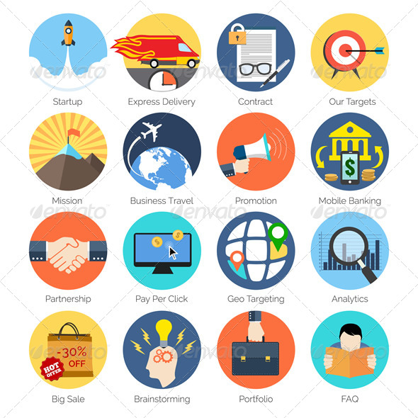 GraphicRiver Modern Flat Icons 8132819