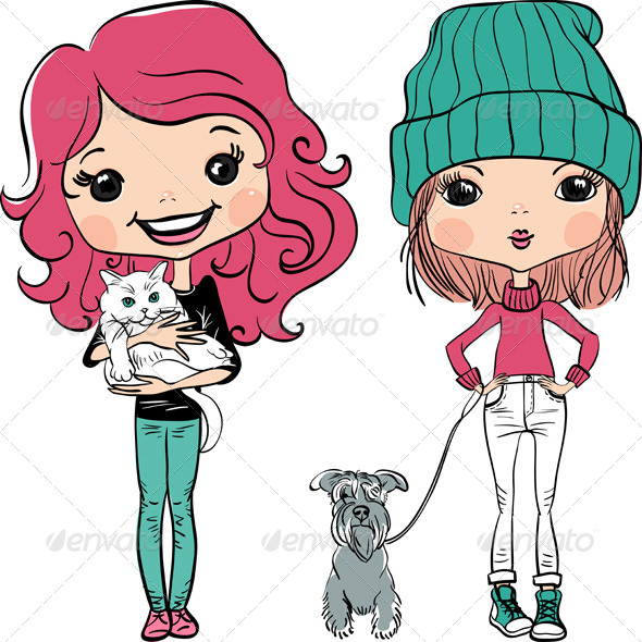 Hipster Fashion Girl with Pets