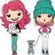 Hipster Fashion Girl with Pets - GraphicRiver Item for Sale