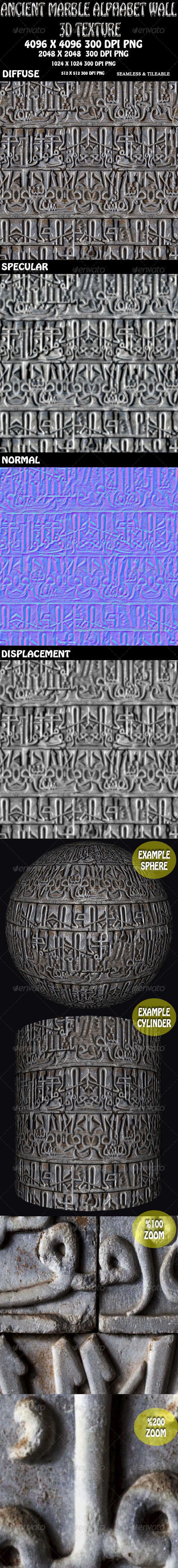 Ancient Alphabet Marble Wall 3D Texture