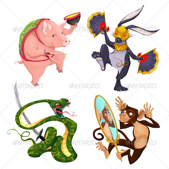 GraphicRiver Pig Rabbit Snake and Monkey 8133120