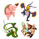 Pig, Rabbit, Snake and Monkey - GraphicRiver Item for Sale