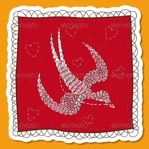GraphicRiver Handkerchief with Swallow Embroidery 8134263