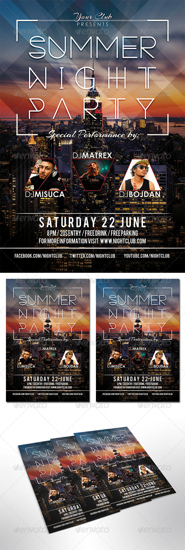 Summer Night Party Flyer - Print Templates