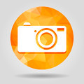 Abstract geometric orange digital camera icon button for graphic - PhotoDune Item for Sale