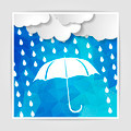 clouds with white umbrella and rain drops on the Blue Polygonal - PhotoDune Item for Sale