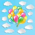 Multicolored glossy balloons with clouds collection on a blue ba - PhotoDune Item for Sale