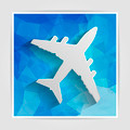 white paper airplane on the blue triangular background - PhotoDune Item for Sale