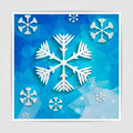 abstract paper snowflakes on blue geometric background with tria - PhotoDune Item for Sale