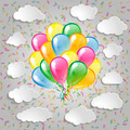 Multicolored balloons with clouds and colorful confetti  a grey - PhotoDune Item for Sale
