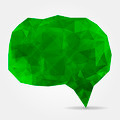 Abstract green geometric speech bubble with triangular polygons - PhotoDune Item for Sale