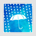 umbrella and rain drops on the Blue Triangular Polygonal backgro - PhotoDune Item for Sale