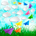 Paper airplanes with clouds on on a Natural green abstract Backg - PhotoDune Item for Sale
