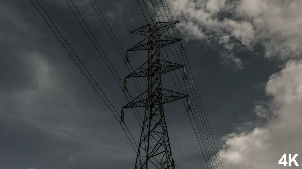 Electric Pole And Cloudy