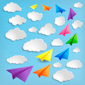 Paper airplanes with clouds on blue background - PhotoDune Item for Sale