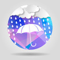 umbrella with clouds and rain drops on the Abstract geometric ci - PhotoDune Item for Sale