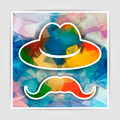 Hat with mustache on a multicolored abstract geometrical backgro - PhotoDune Item for Sale