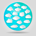 set of clouds on Abstract geometric blue circular shape from tri - PhotoDune Item for Sale