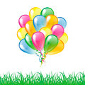 Multicolored glossy balloons with grass silhouette isolated on a - PhotoDune Item for Sale
