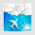white airplane with paper clouds on the Abstract blue geometric - PhotoDune Item for Sale