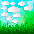 white clouds with grass silhouettes on a Natural green abstract - PhotoDune Item for Sale