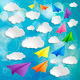 Set of flying colorful paper airplanes with clouds on the blue b - PhotoDune Item for Sale