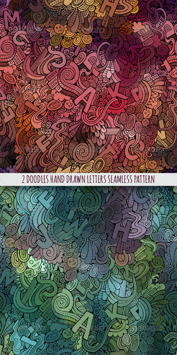 GraphicRiver 2 Doodles Letters Seamless Pattern 8134907