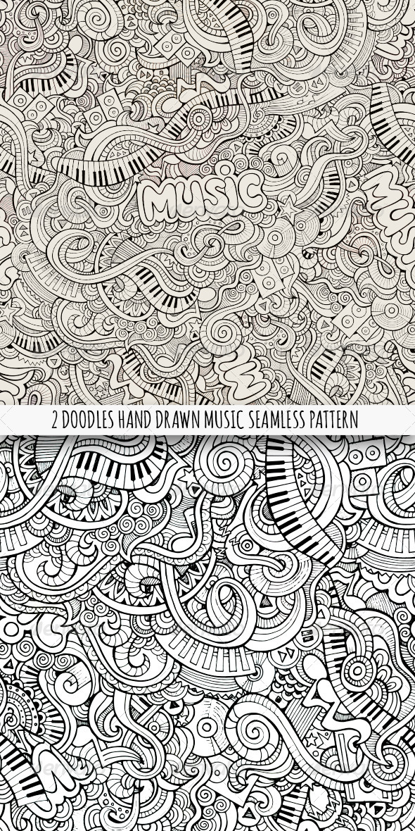 GraphicRiver 2 Doodles Music Seamless Pattern 8134963